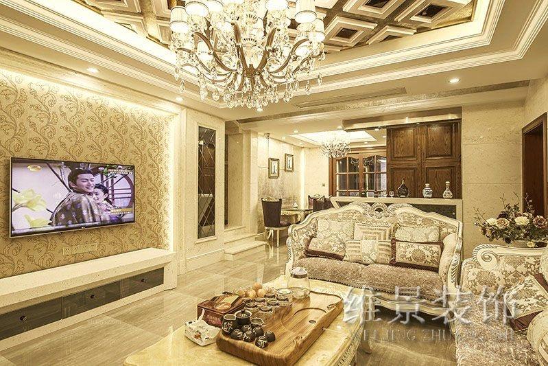 三居室现代简约客厅电视背景墙_水榭花城图片