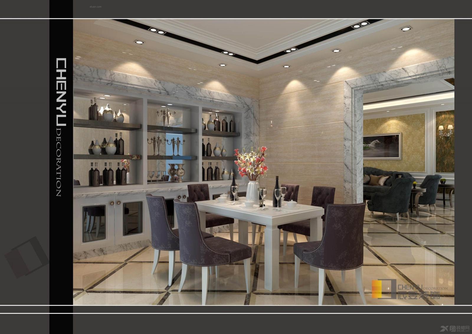 复式楼欧式风格餐厅_珠坑颜总豪宅装修效果图-x团装修图片