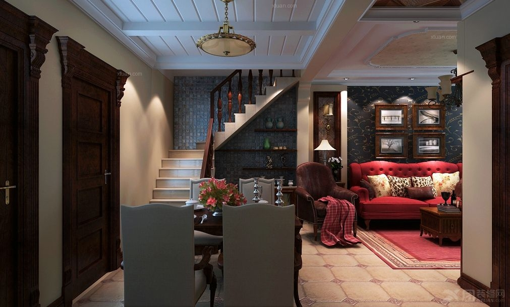 复式楼美式风格餐厅_凤凰城装修效果图-x团装修网
