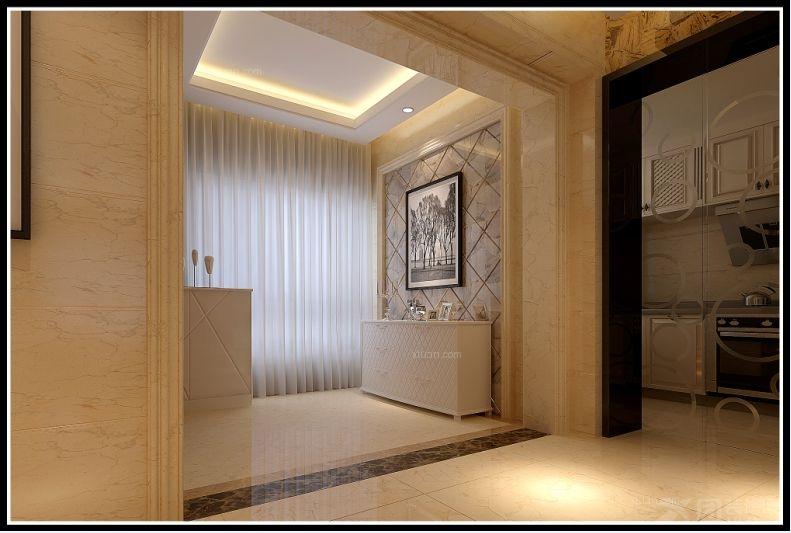 本案电视背景与过道门廊与厨房玻璃门的整体设计