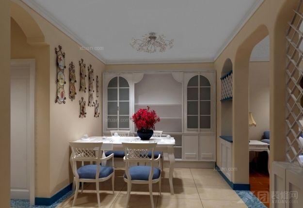 延静西里普通住宅2室1厅1卫地中海装修案例效果图    86平米设计