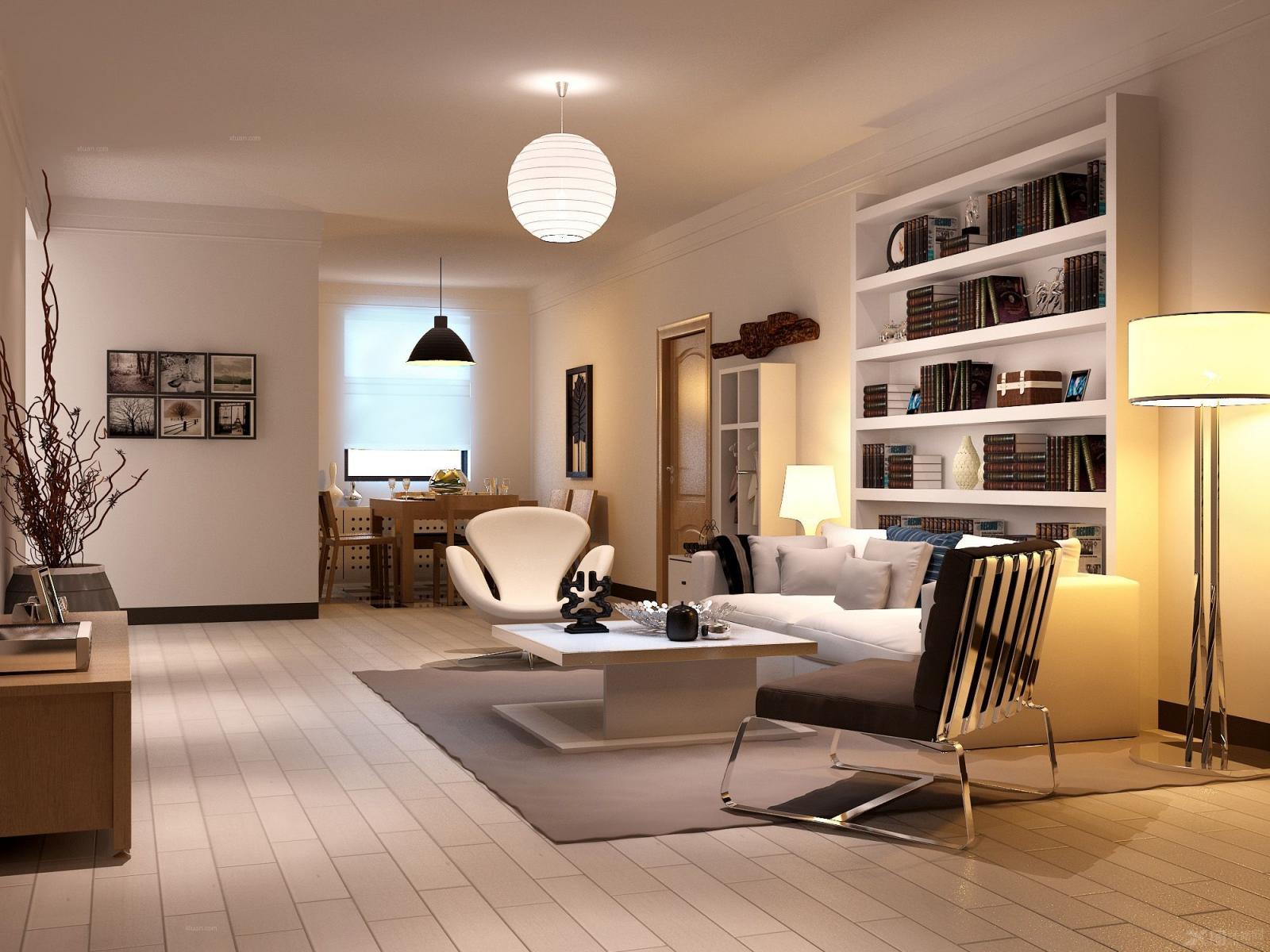 客厅装修效果图  户型:三室一厅 房间:客厅 风格:现代简约 装修类型图片