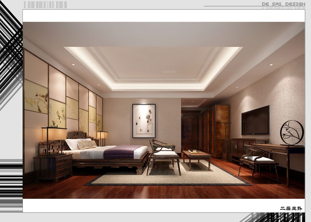 墅A栋 卧室 中式风格 150万元装修金溪别墅A栋82高清图片