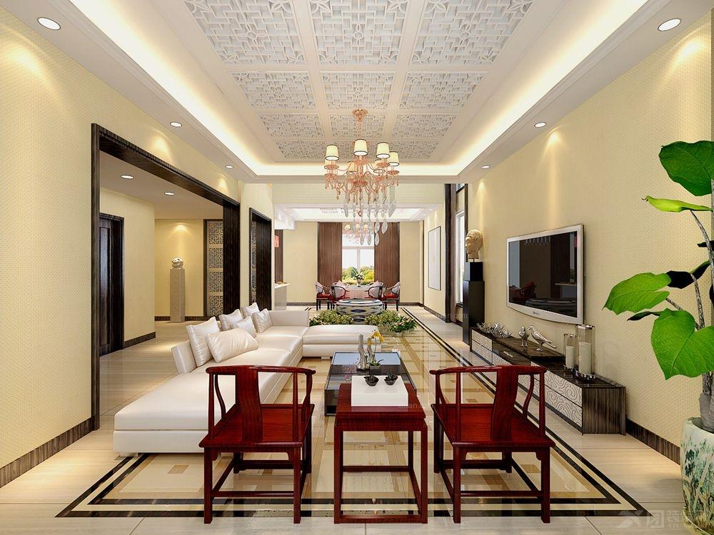 新中式别墅客厅地板别墅客厅装修地板图片9