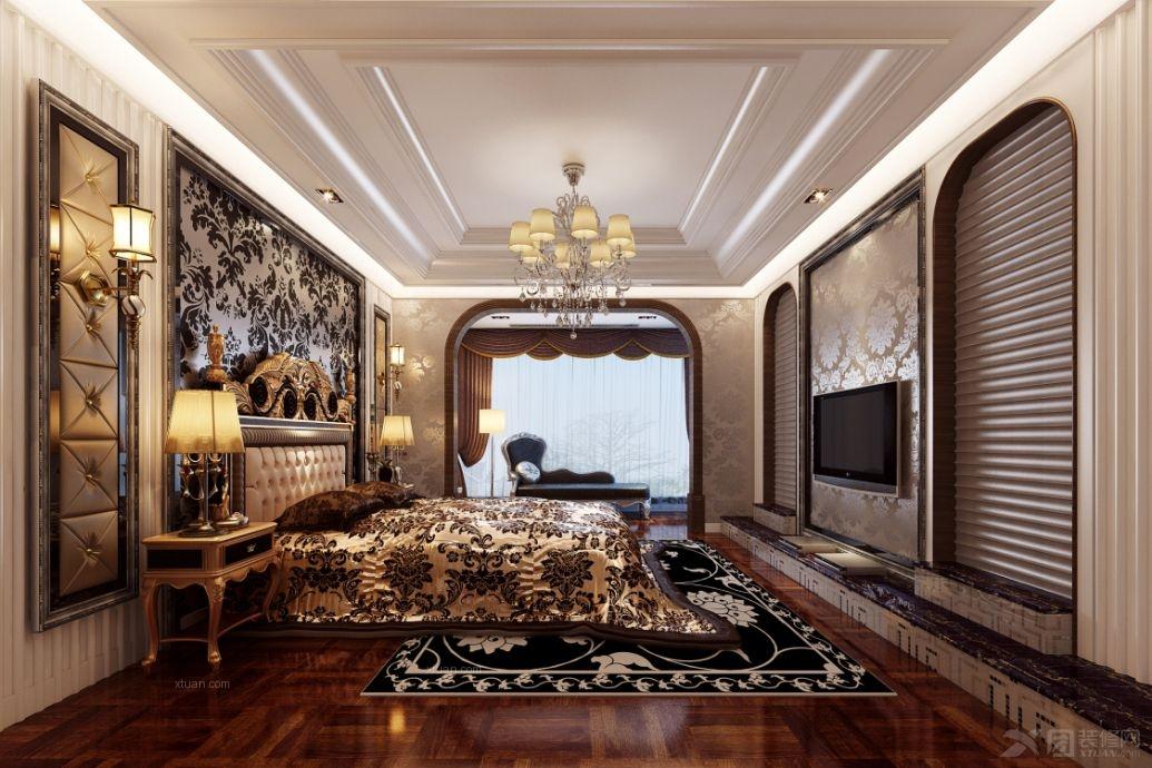 别墅欧式风格卧室电视背景墙_香江红梅园二期图片