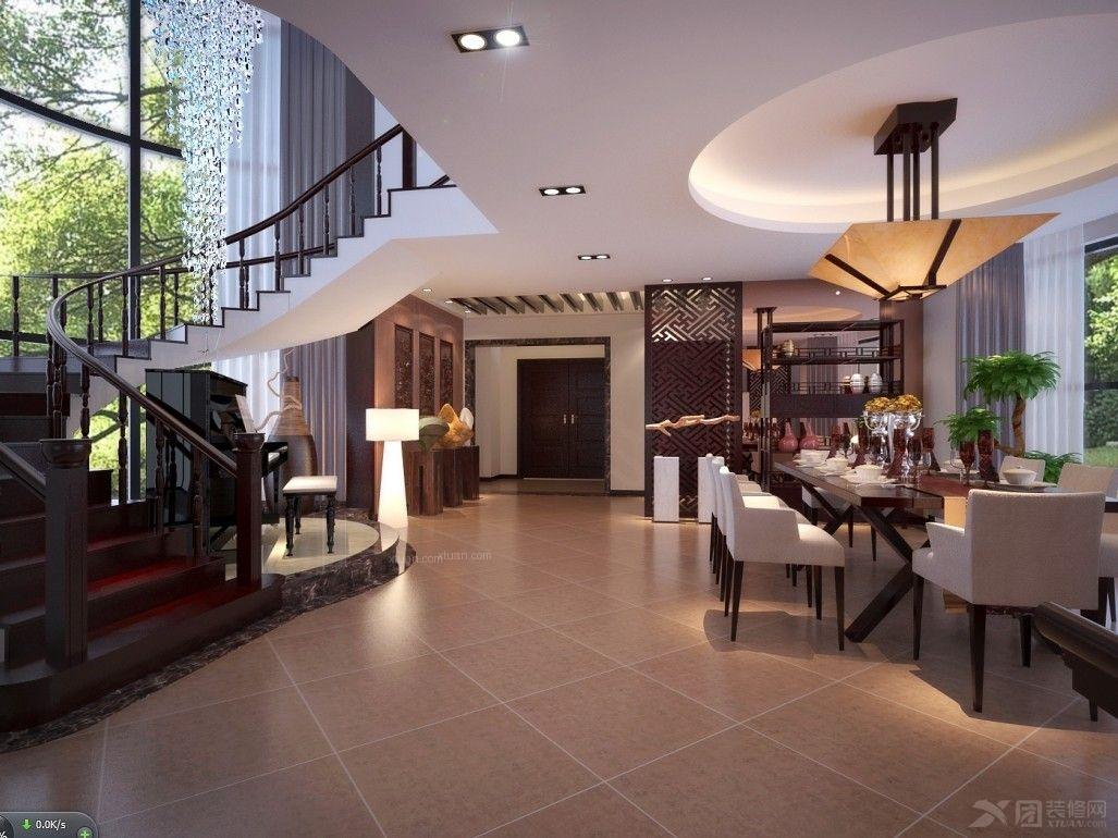 别墅中式风格餐厅_黄金海岸装修效果图-x团装修网图片