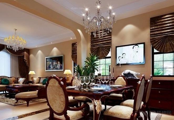 两居室客厅_领汇双河湾欧式设计风格装修效果图-x团