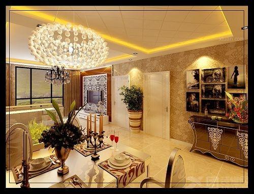 一进门的玄关处以雕花板为主既通透又时尚大方;沙发选择的是咖啡色的