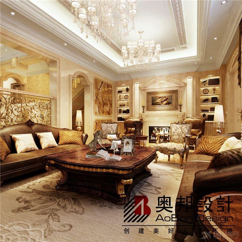 独栋别墅欧式风格客厅电视背景墙_上海金地格林别墅欧式新古典风格图片