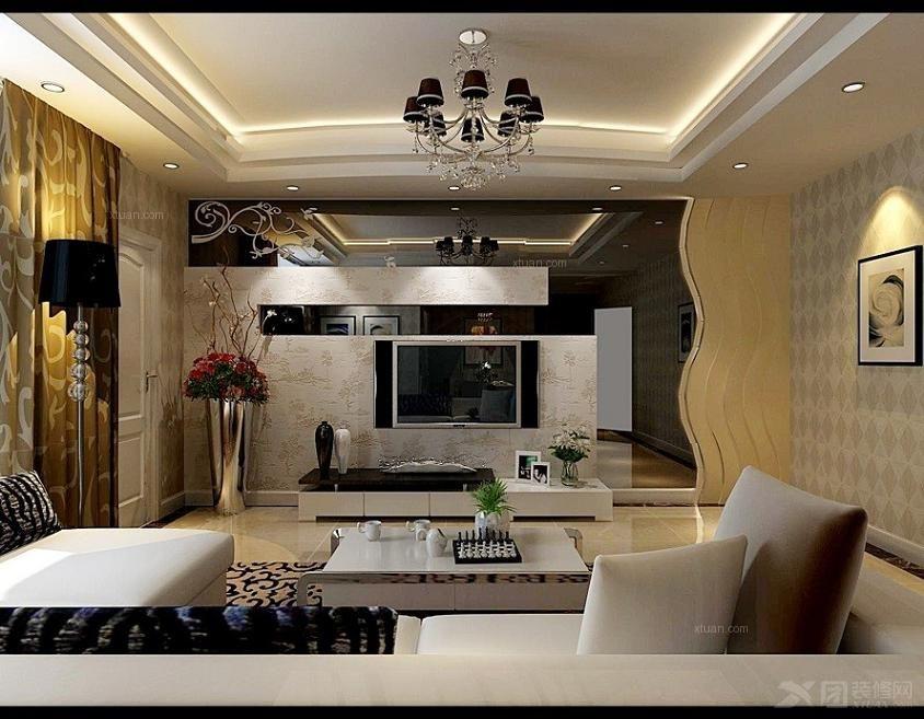 三居室简约风格客厅电视背景墙_西水东