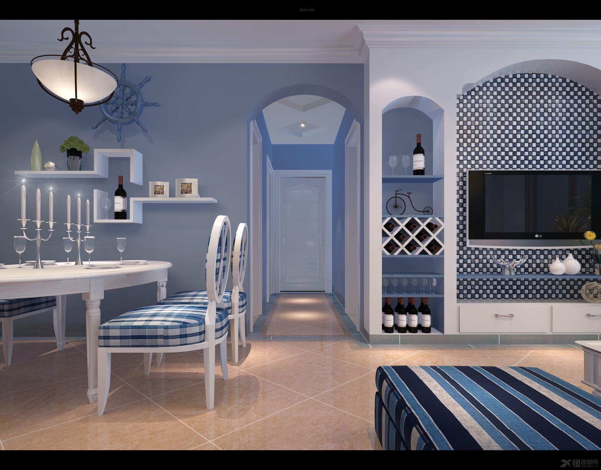 三居室地中海风格餐厅照片墙_和信广场