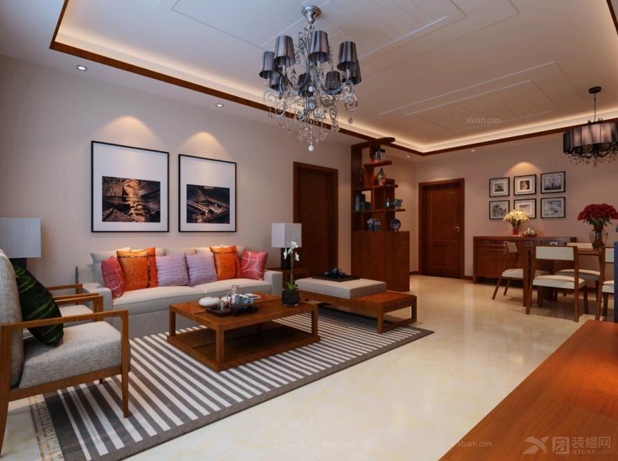 三室两厅中式风格客厅沙发背景墙_半岛明珠