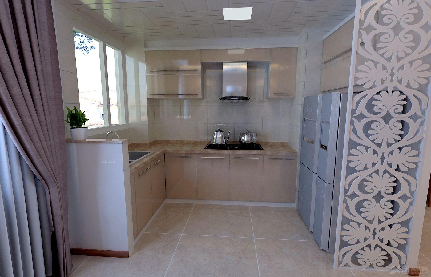 两室两厅现代简约厨房_第一城2室2厅1卫装修效果图-x