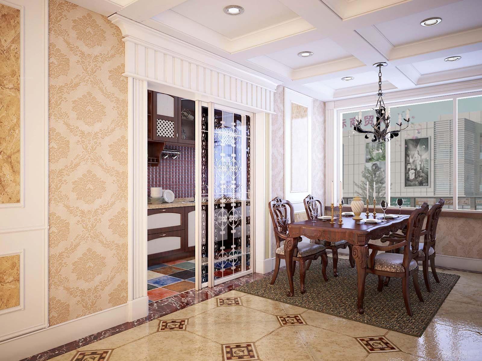 三室两厅欧式风格厨房_一套欧式装修效果图-x团装修网