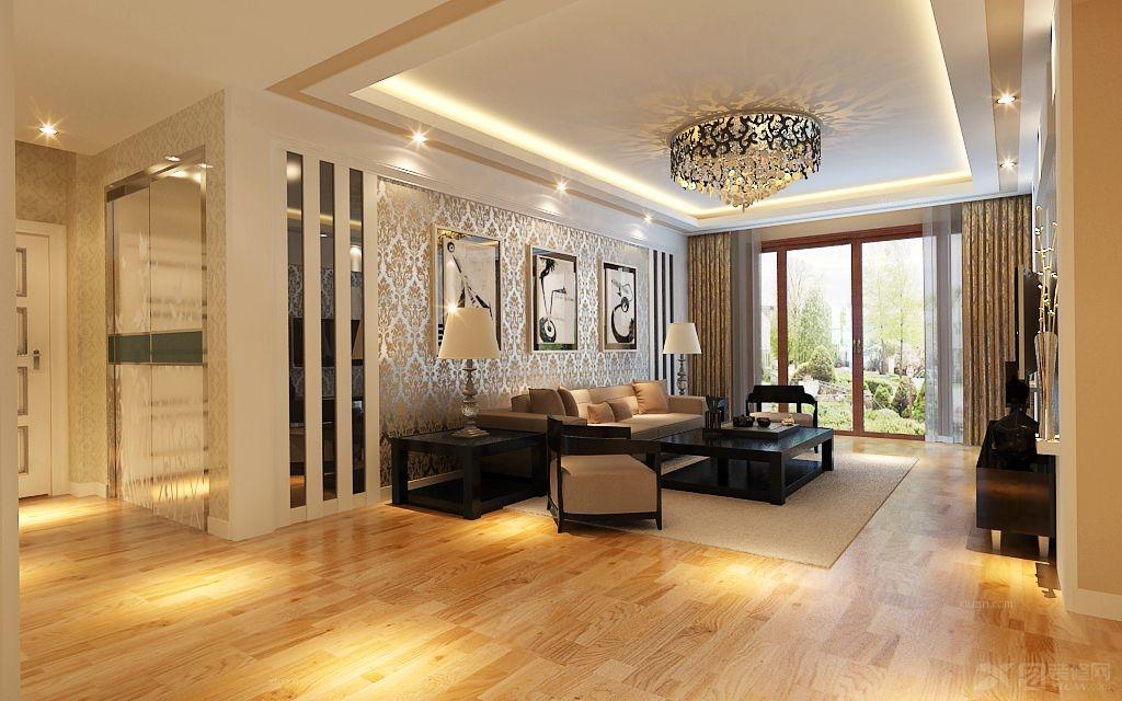 三居室欧式风格客厅沙发背景墙_上岛公馆90平3居室,简欧风设计图图片