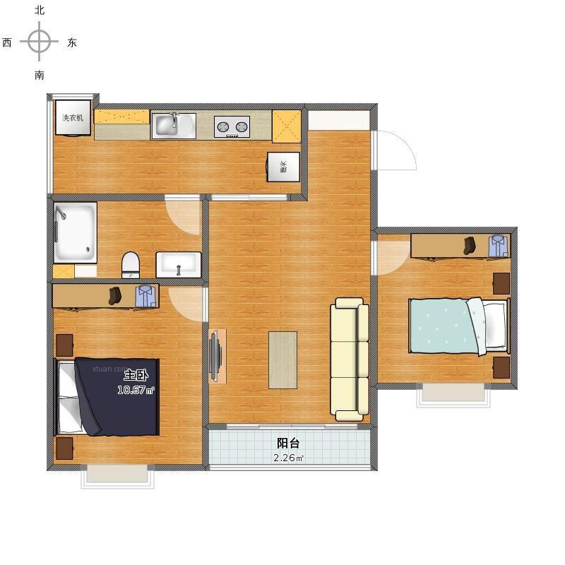 户型:两室一厅 风格:现代简约 装修类型:家装 装修方式:全包 面积:57