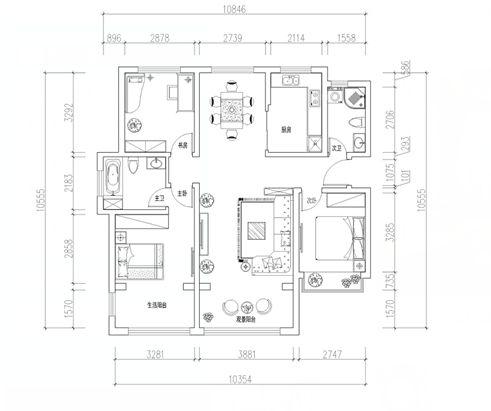 三室两厅简欧风格_凯景广场143平三居室欧式|青岛实创