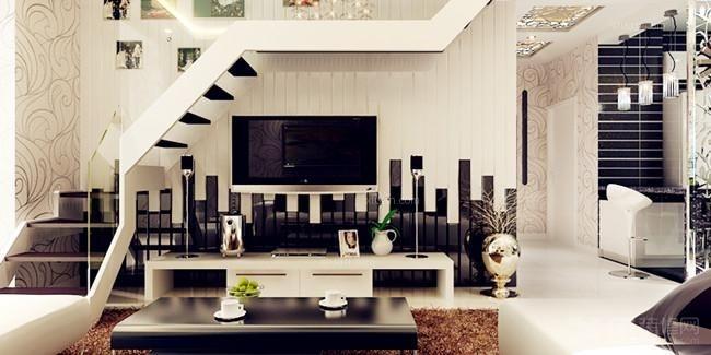 复式楼现代风格客厅_你家的阁楼也可以黑白绝配图片