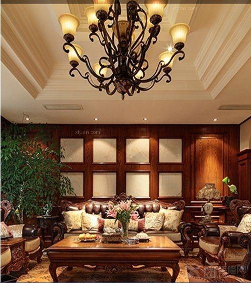 别墅欧式风格客厅_和泰馨和园装修效果图-x团装修网图片