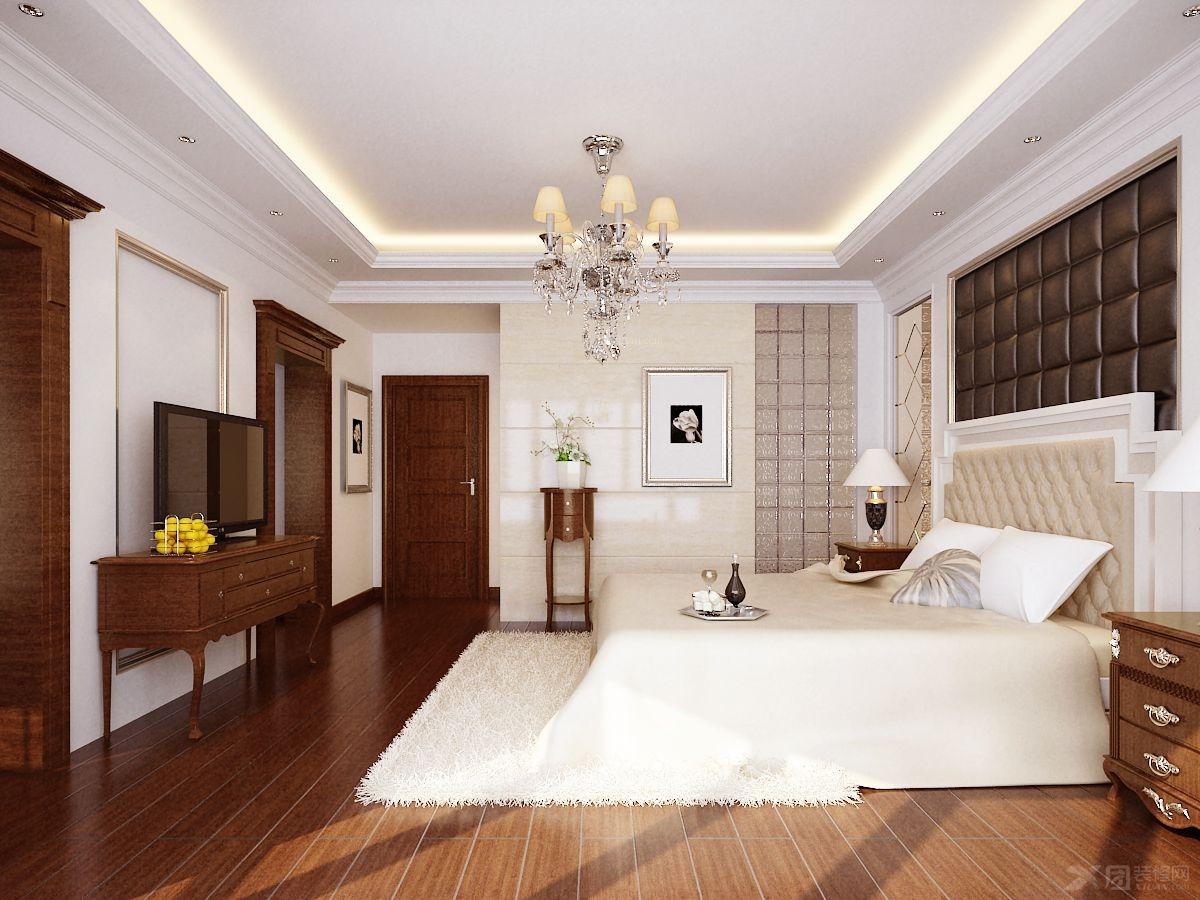 效果图-x团装修网; 复式楼欧式风格卧室卧室背景墙_万里水岸复式楼