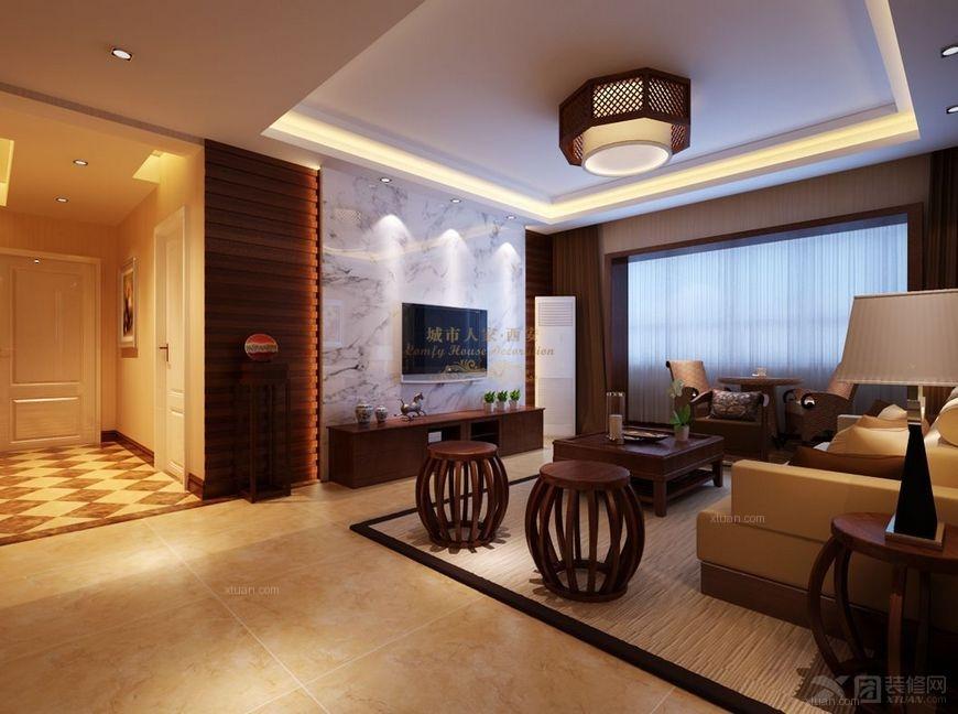 三室两厅中式风格客厅电视背景墙_【西安城市人家】盛世一品5#131平图片