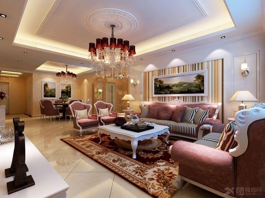 四居室歐式風格客廳沙發背景墻_【西安城市人家】華府