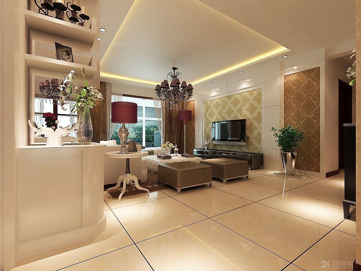 三室两厅欧式风格客厅电视背景墙_曼哈顿装修效果图-x