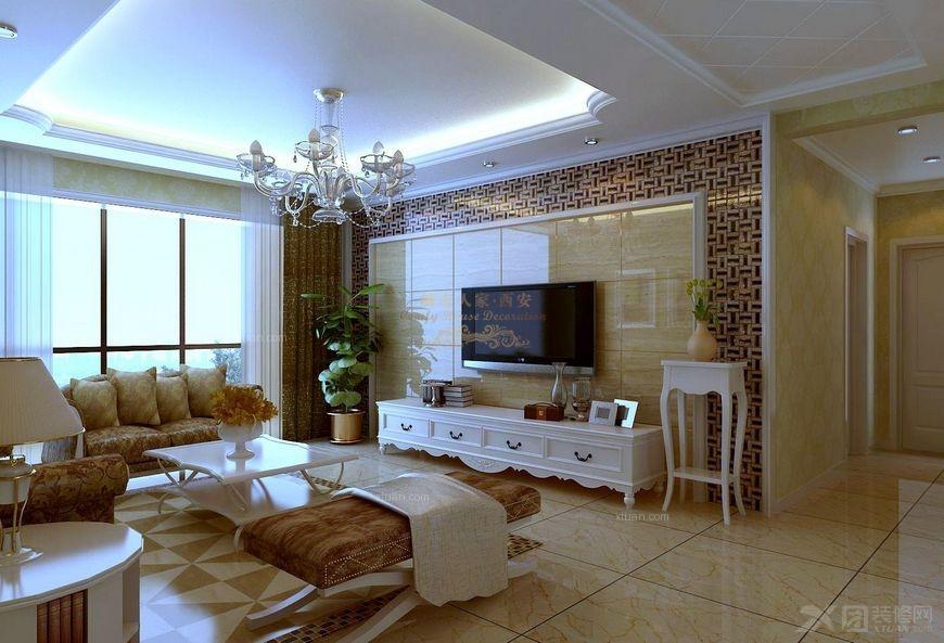 电视背景墙采用了马赛克与玉石砖相结合,做到了大气美观.