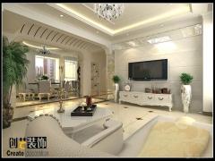 三室两厅简欧风格客厅电视背景墙_曲靖金座福城121平米简欧风格10万图片