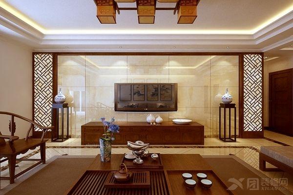 三室一厅中式风格客厅电视背景墙