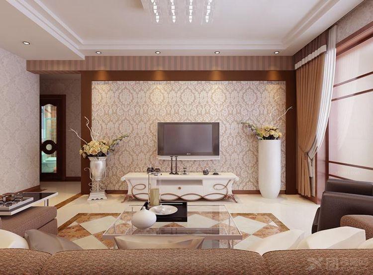 四居室美式风格客厅电视背景墙_世纪华阳装修效果图-x图片