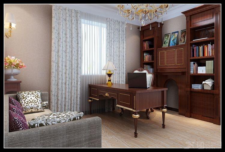 打造实用中式书房风格装修效果图  户型:四居室 房间:书房 风格:混搭图片