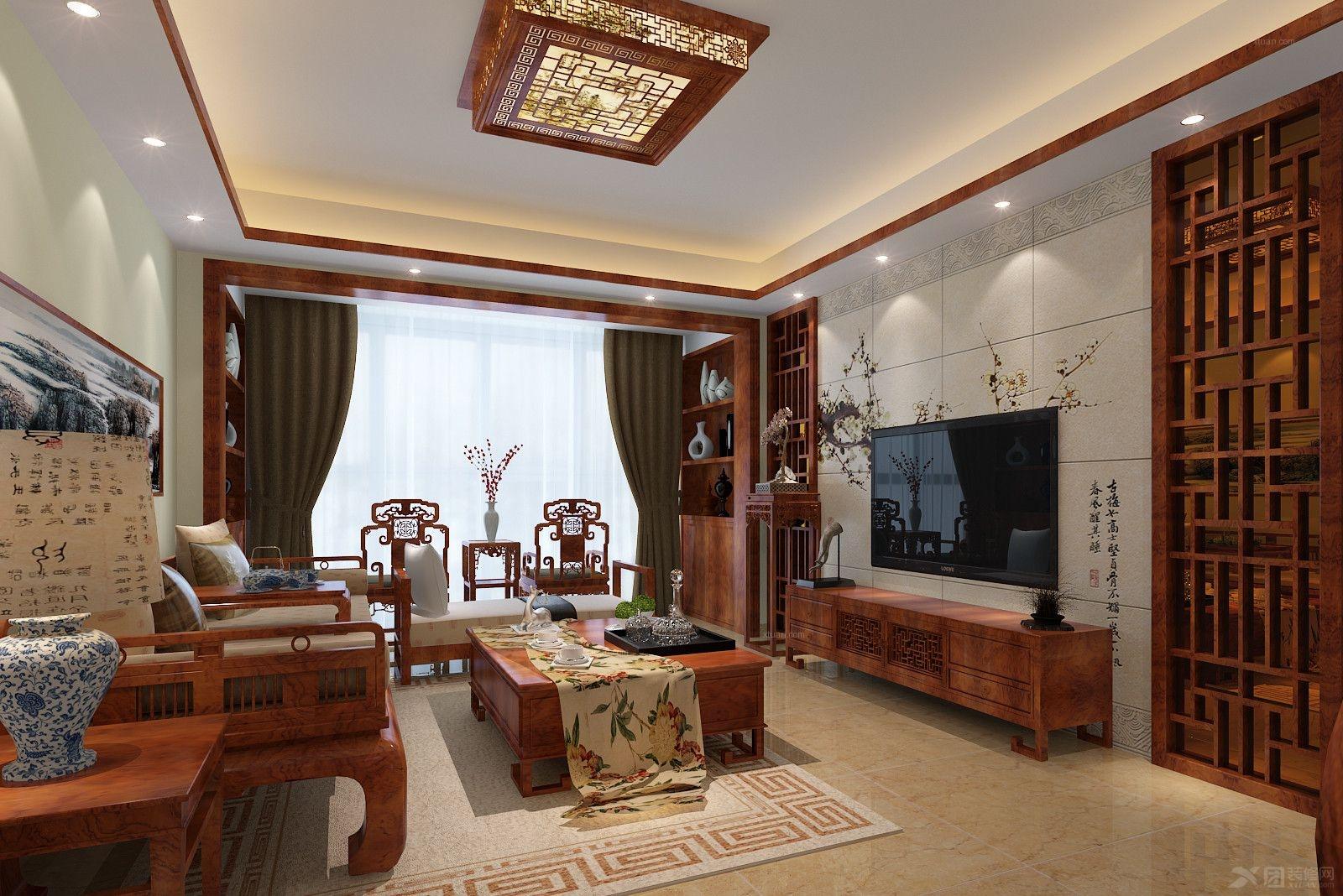 四居室中式风格客厅电视背景墙_帝景海岸图片