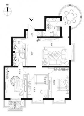 160平米现代奢华风格设计装修效果图-三室