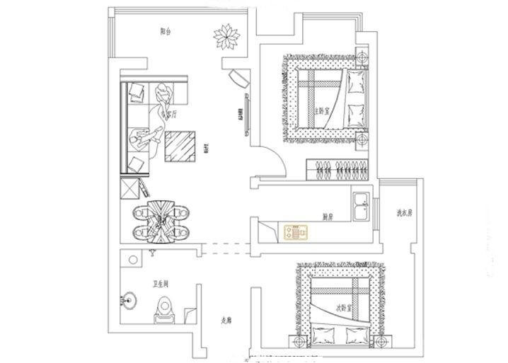 【乐城半岛90平米】石家庄实创装饰-二居室装修效果图