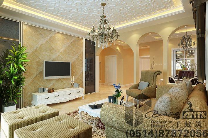 两室一厅简欧风格客厅电视背景墙_骏和玲珑湾