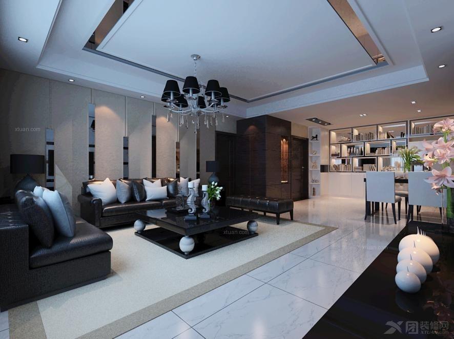 三室两厅现代简约客厅沙发背景墙
