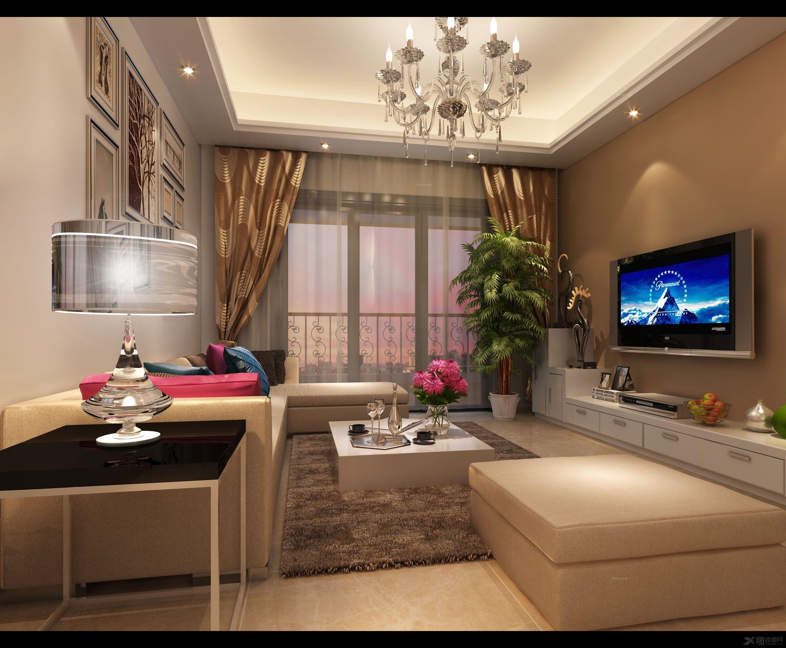 新中式风格140平米三居室-8万装修效果图 鸿坤曦望山三居室欧式案例图片