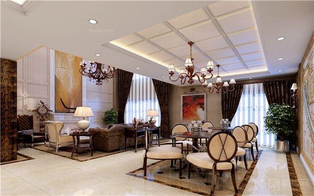 银基王朝三居室新中式装修效果图  户型:三居室 风格:欧式风格 装修