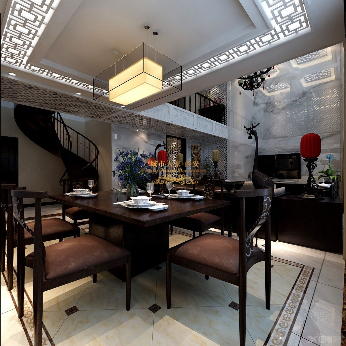 跃层中式风格餐厅电视背景墙_国色天香图片