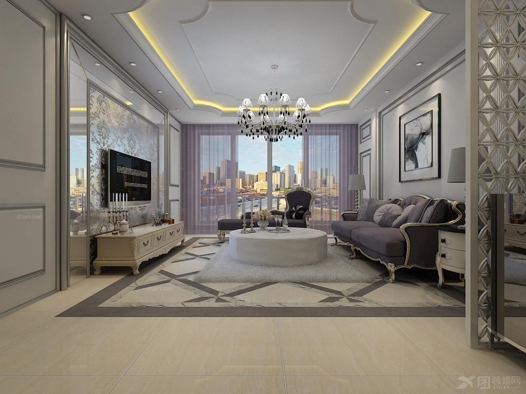 套间客厅装修效果图  户型:三居室 房间:客厅 风格:简欧风格 装修类型