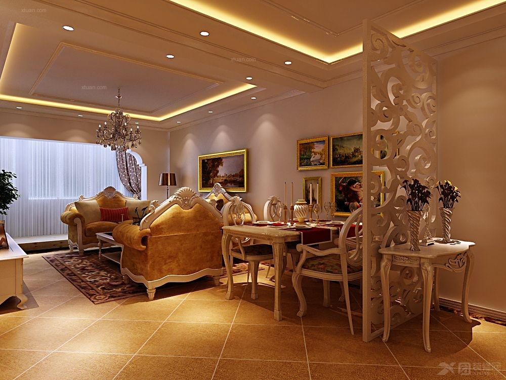 两室一厅欧式风格玄关沙发背景墙_汇邦克莱枫丹图片