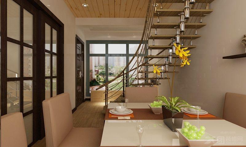 小海鲜餐厅设计装修效果图 新中式风格餐厅案例装修效果图  户型:跃层