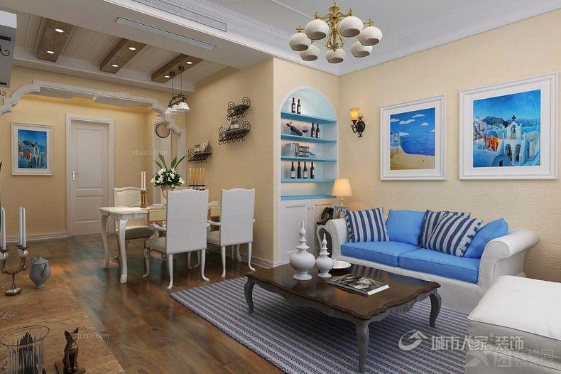 一居室地中海风格客厅沙发背景墙_【西安城市人家】小户型设计:清新
