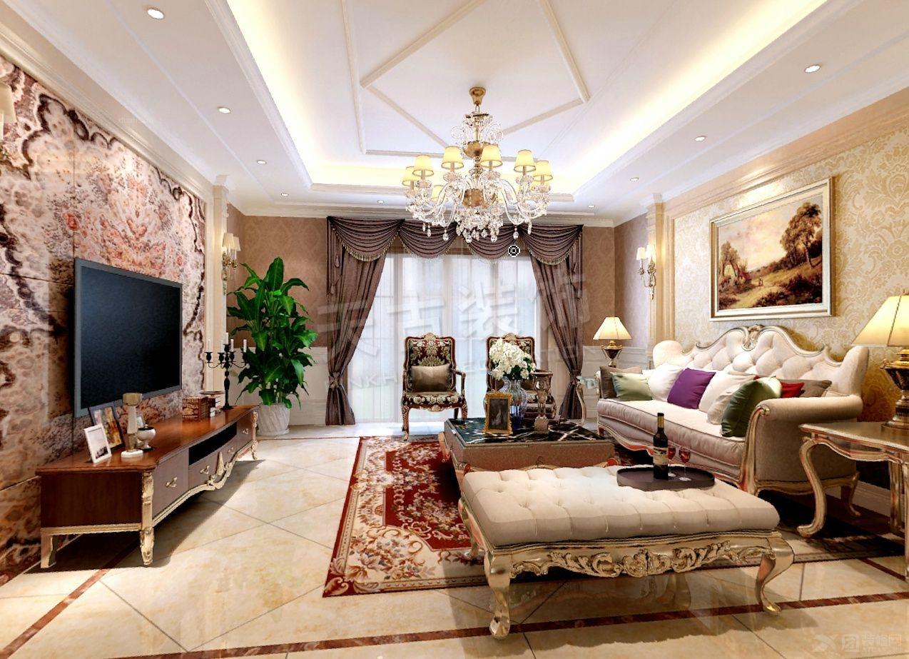 保利江上明珠150㎡欧式新古典装修案例图片