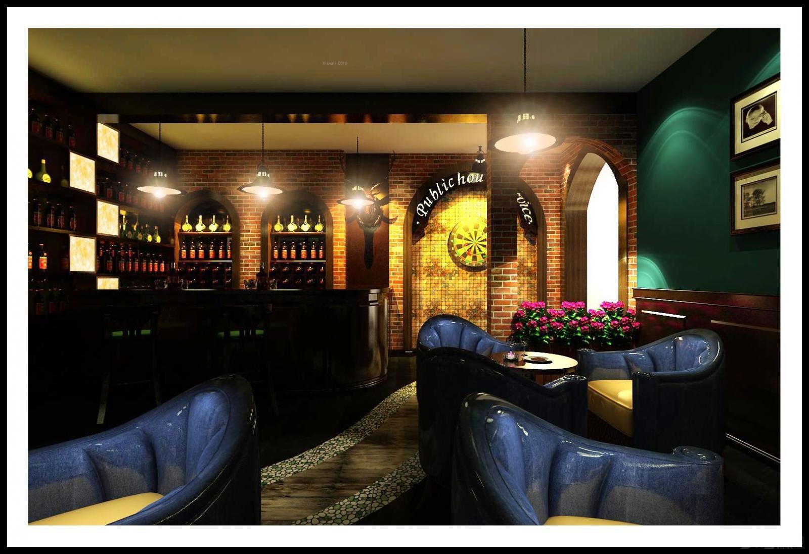 美式风格_酒吧装修效果图-x团装修网图片