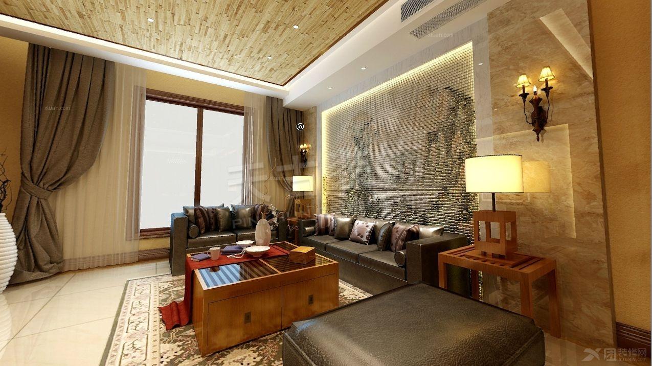 别墅客厅沙发背景墙_逸翠庄园 160㎡ 新中式风格图片