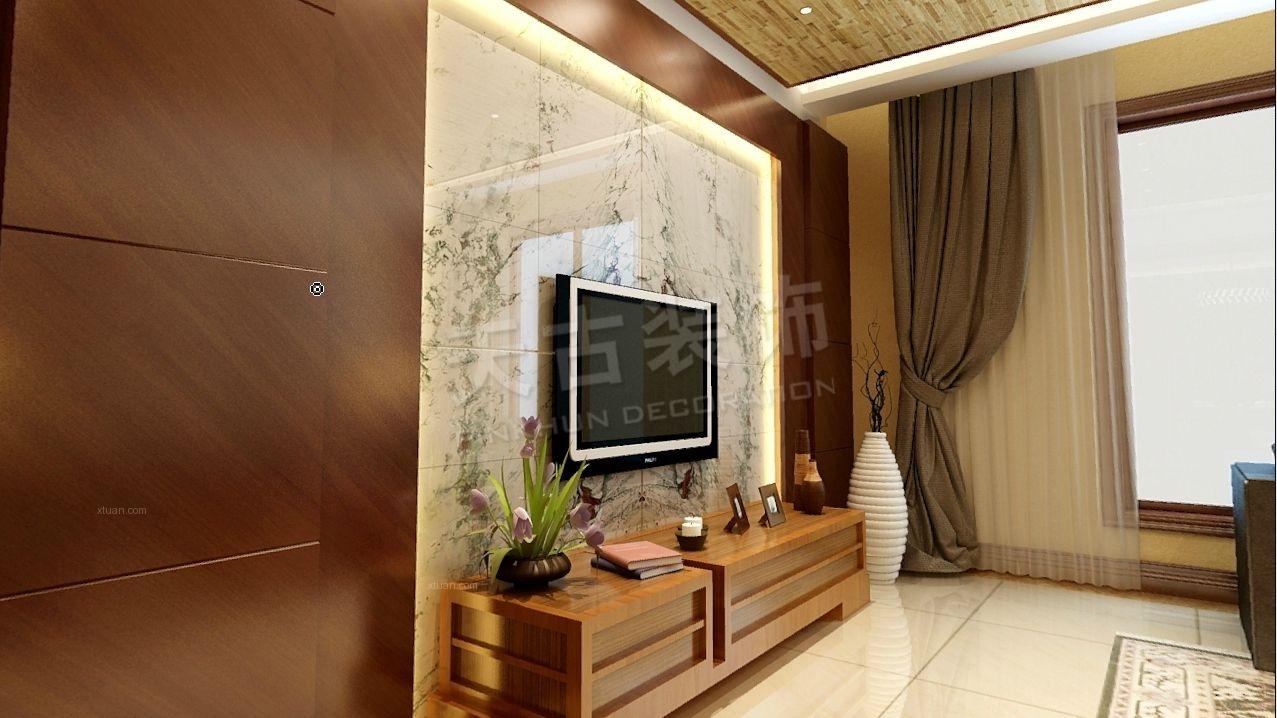 别墅客厅电视背景墙_逸翠庄园 160㎡ 新中式风格