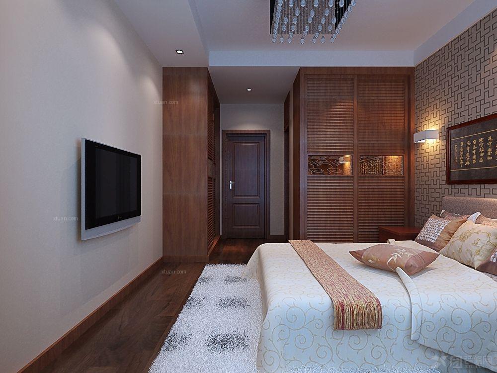 三居室中式风格卧室电视背景墙_政和东郡装修效果图-x
