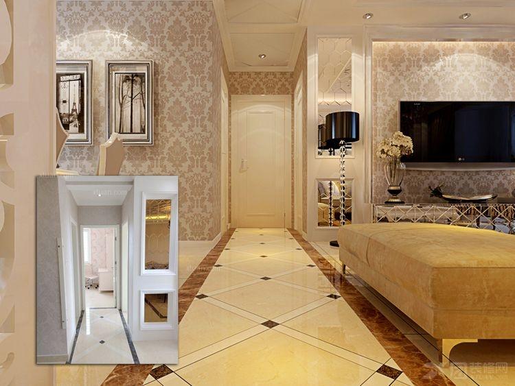 两室一厅简欧风格过道客厅隔断_名都枫景装修效果图-x图片